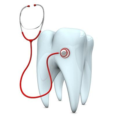 Cartoon image of tooth with stethoscope l Emergency Dentistry Humble TX